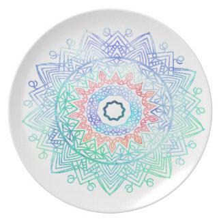 Ocean-madala. aqua blue pink plates