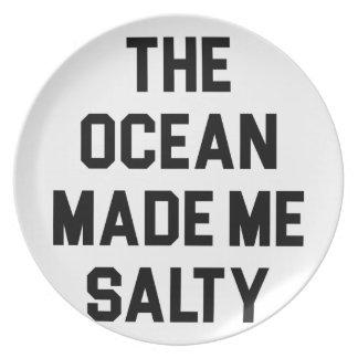 Ocean Made Me Salty Plate