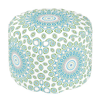 Ocean Mandala in Blue and Gray and White Pouf