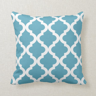 Ocean Moroccan Quatrefoil Print Throw Pillow