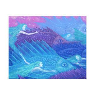 Ocean Nomads, Nautical Fantasy Art Mermaids & Fish Canvas Print