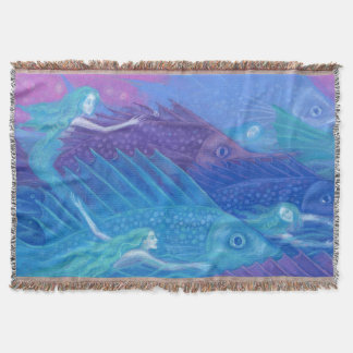 Ocean Nomads, Nautical Fantasy Art Mermaids & Fish Throw Blanket