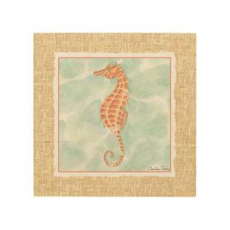 Ocean Orange Seahorse Wood Print