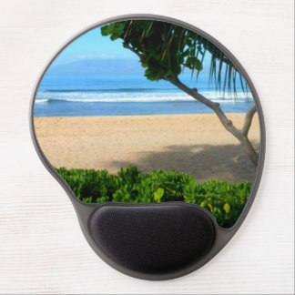 Ocean Palm Tree Beach Scene Gel Mouse Pad