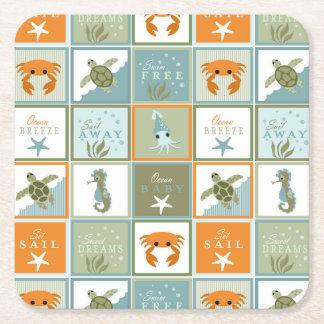 Ocean Patchwork Square Paper Coaster