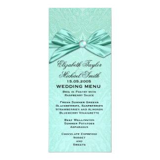 Ocean Ribbon Elegant Damask Wedding Menu 10 Cm X 24 Cm Invitation Card
