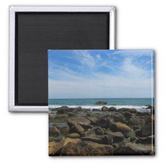 Ocean Rocks on Block Island Square Magnet
