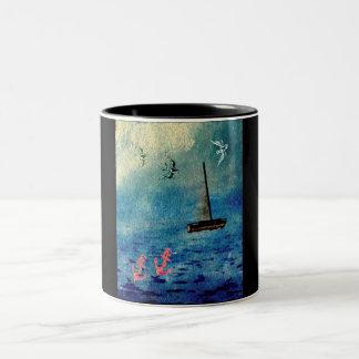 Ocean Sailboat Anchors Blue on Black Swallows Mug
