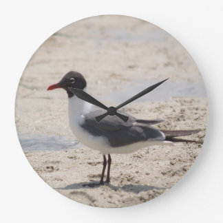 Ocean Sand Seagull Bird Beach Photo Large Clock