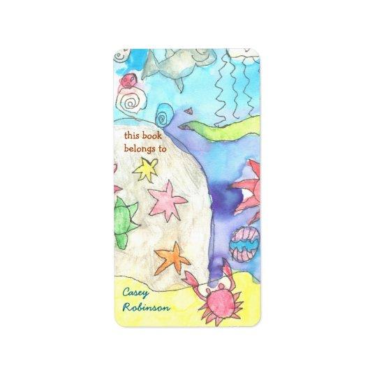 Ocean scene personalised bookplate label
