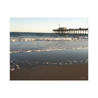Ocean Scene, showing Myrtle Beach State Park Pier Canvas Print