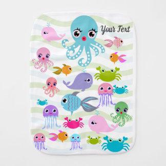 ocean sea Baby Blanket, octopus, crab,  Burp Cloth