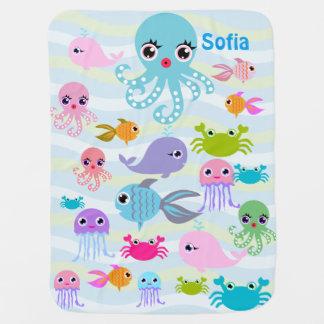 ocean sea Baby Blanket, octopus, crab, fish, jelly Baby Blanket