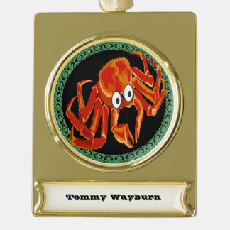 Ocean sea tropical orange king crab gold plated banner ornament