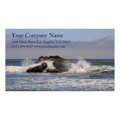 Ocean Sea Waves Splash Rocky Coast Shore Shoreline Business Card Template