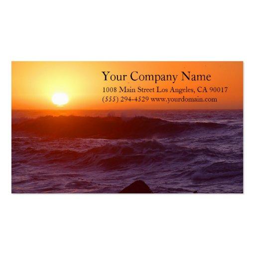 Ocean Sea Waves Sunset Rocky Coast Shore Shoreline Business Cards