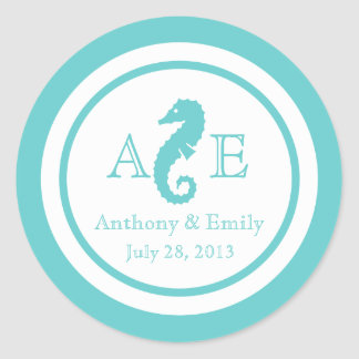 Ocean Seahorse Wedding Round Sticker
