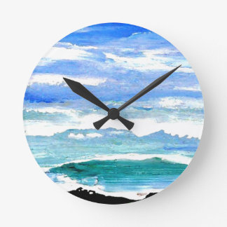 Ocean Serenity Sea Waves Oceanscape Decor Gifts Round Clock