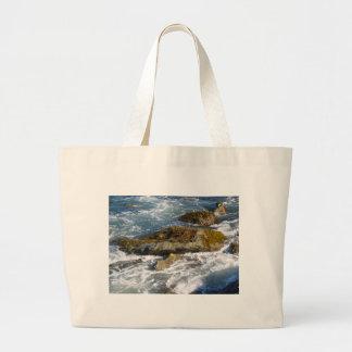 Ocean shore large tote bag