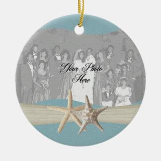 Ocean Sky Blue Starfish Photo Ceramic Ornament