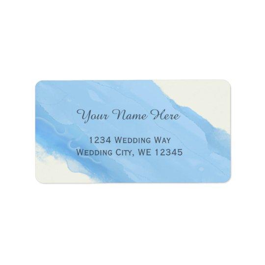 Ocean Sky blue watercolor  brush strokes modern Address Label