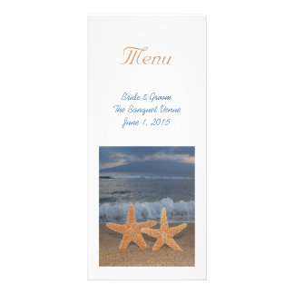 Ocean Starfish Wedding Menu Rack Card