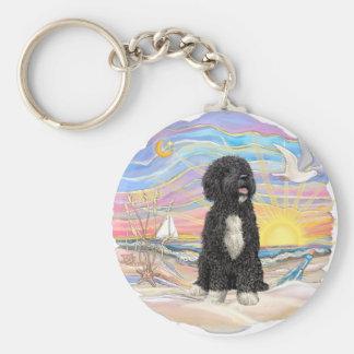 Ocean Sunrise-Portuguese Water Dog (bw5) Key Ring