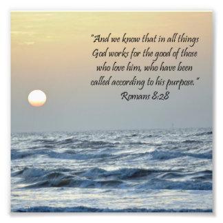 Ocean Sunrise Romans 8:28 Scripture Print
