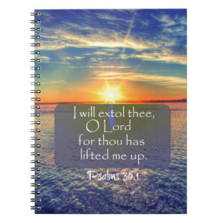 Ocean Sunrise with Psalms Bible Verse Notebook