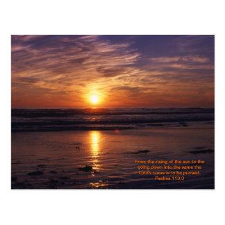 Ocean sunset bible verse postcard