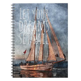 Ocean Sunset Dream Sail Inspirational Quote Notebook