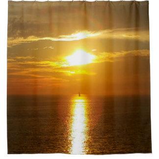 Ocean Sunset Golden Shower Curtain