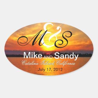 Ocean Sunset Monogram Destination Wedding Oval Sticker