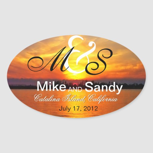 Ocean Sunset Monogram Destination Wedding Oval Stickers