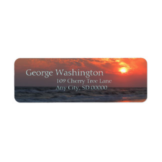 Ocean Sunset - Oak Island, NC Return Address Label