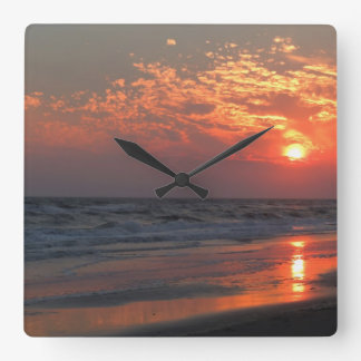 Ocean Sunset - Oak Island, NC Square Wall Clock