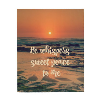 Ocean Sunset with Christian Hymn Lyric Wood Canvases