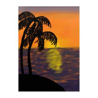 Ocean Sunset with Palm Trees Digital Painting Acrylic Wall Art