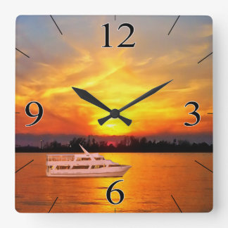Ocean Sunset Yacht (keep or remove the yacht) Square Wall Clock