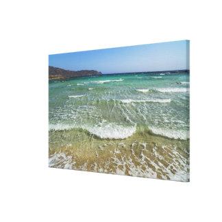 Ocean surf at Elafonisi Beach - Europe, Greece, Canvas Print
