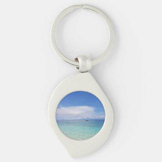 Ocean Swirl Keychain Silver-Colored Swirl Key Ring