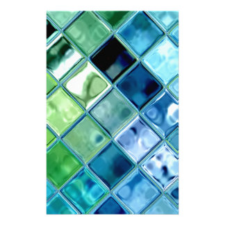 Ocean Teal Glass Mosaic Tile Art Stationery