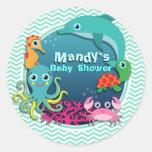 Ocean Theme Baby Shower; Aqua Green Chevron Round Stickers