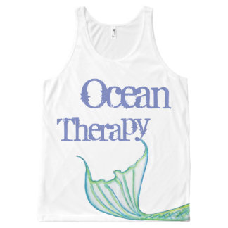 Ocean Therapy by Mostly Mermaid Designs- Fun Gift All-Over Print Singlet