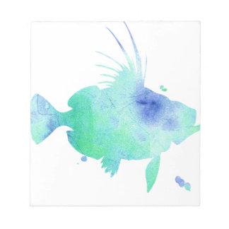 Ocean tide Aqua Fish custom print Notepad