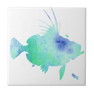 Ocean tide Aqua Fish custom print Small Square Tile