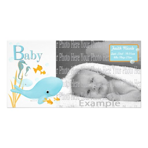 Ocean View Baby Photo Annoucement Photo Card Template