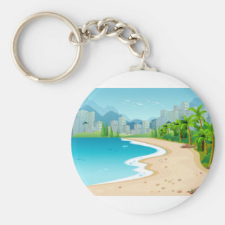 Ocean view basic round button key ring