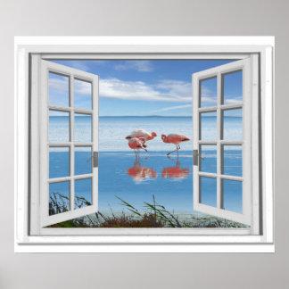 Ocean View Fake Window With Flamingos On Beach Poster