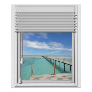 Ocean View Faux Window With Blind Poster